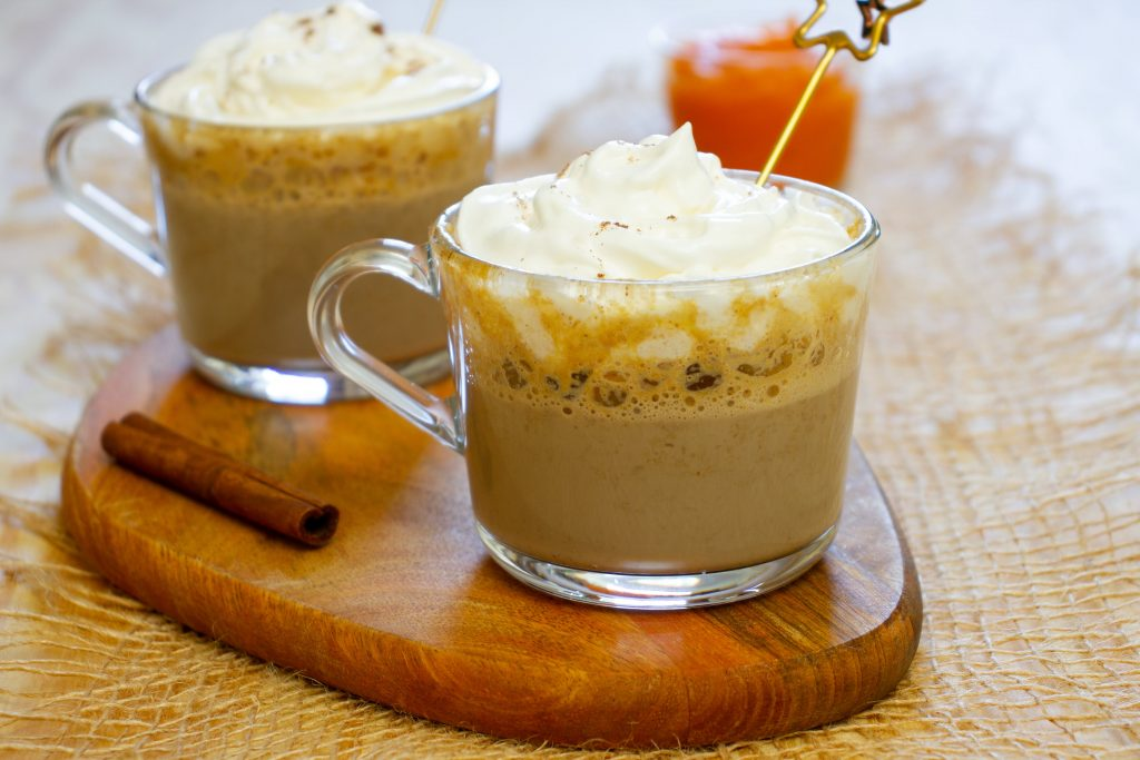 Coffee with pumpkin and milk