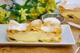 Carpathian cake with custard and butter cream