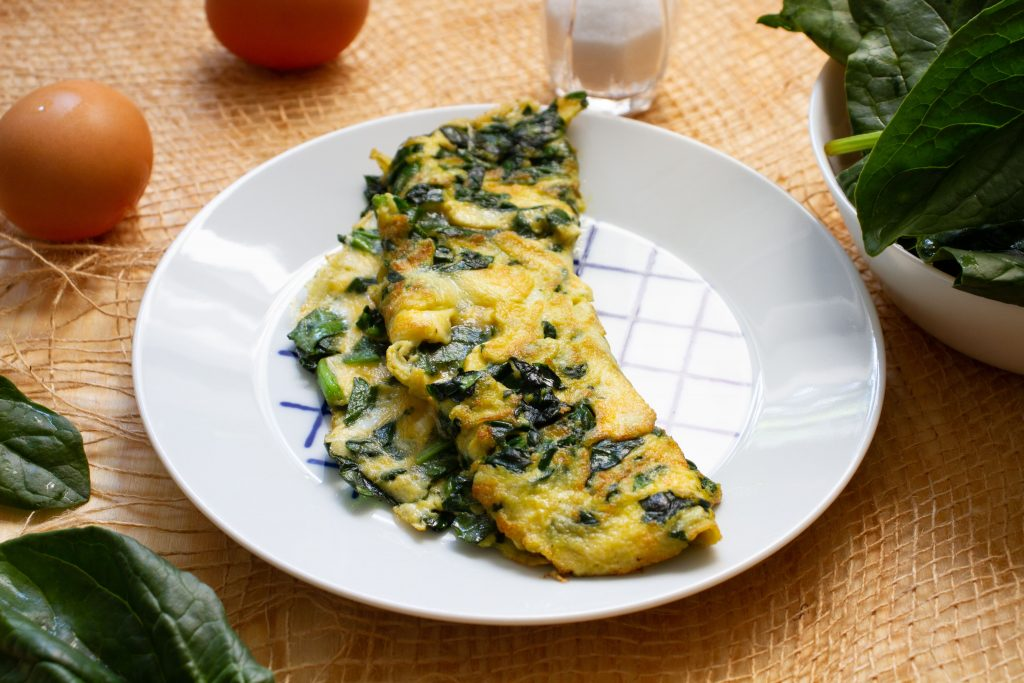 Egg and spinach omelette